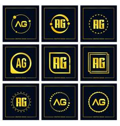 initial letter ag logo set design vector image