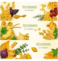 Italian pasta macaroni and spaghetti banner set vector