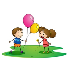 kids with balloons vector image