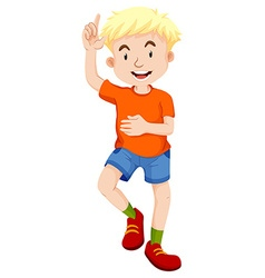 Little boy in orange shirt pointing vector