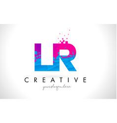 Lr l r letter logo with shattered broken blue vector