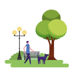 man walking with her dog in the park vector image