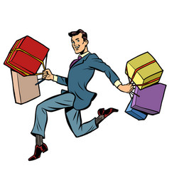 man with gifts shopping vector image