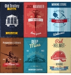 Mining Industry Posters Collection vector image