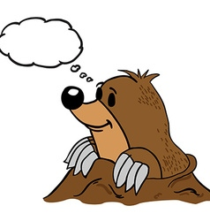Mole with thought bubble vector