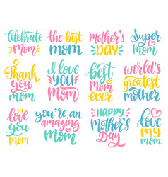 mothers day calligraphy set vector image