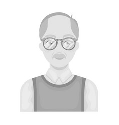 Old manold age single icon in monochrome style vector