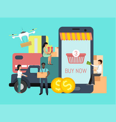Online shopping cargo tracking app people with vector