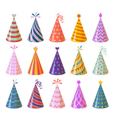 Party caps colorful cartoon birthday and carnival vector