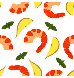 Pattern with shrimp vector