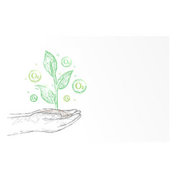 plant with oxygen on hand ecology concept vector image