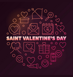 saint valentines day round colored linear vector image