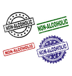 Scratched textured non-alcoholic stamp seals vector