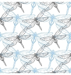 Seamless background with dragonflies vector