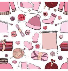 seamless hand drawn knitting pattern on white vector image