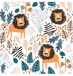 seamless jungle pattern with lions and tropical vector image
