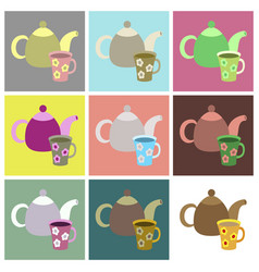 Set icons in flat design tea kettle and cup vector