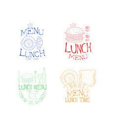 set of 4 lunch emblems in different colors vector image