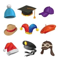 Set of cartoon police and joker hats vector