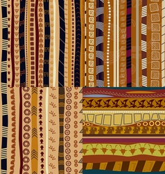Set of color patterns primitive tribal pattern vector