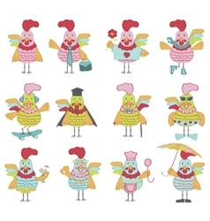 Set of Cute cartoon rooster vector