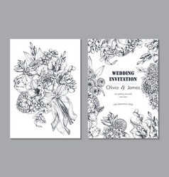 set two banners with beautiful floral frame and vector image