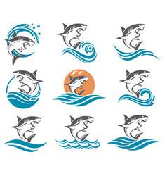 shark set vector image
