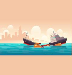 Shipwreck cargo ship vessel sinking in ocean vector