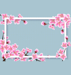 Spring time cherry blossom border - 3d frame with vector
