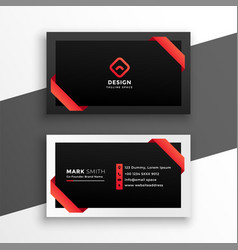 Stylish red and black business card design vector
