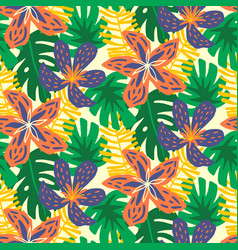 summer tropical jungle seamless pattern vector image