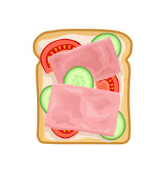 Tasty sandwich with slices of fresh cucumber vector