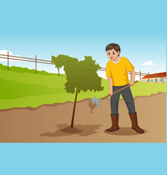 Teenager planting a tree vector