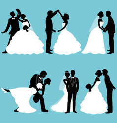 The bride and groom set collection vector