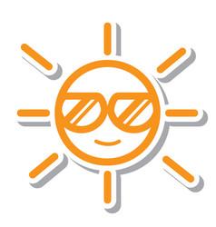 Thin line sun icon vector