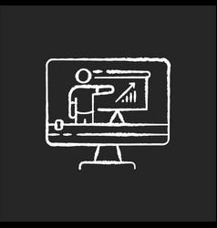 tutorial video chalk white icon on black vector image