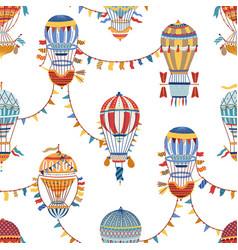 vintage childish hot air balloon wallpaper vector image