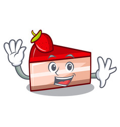Waving strawberry cake character cartoon vector