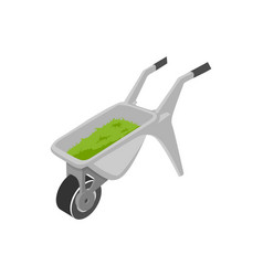 Wheelbarrow full of grass isolated icon vector