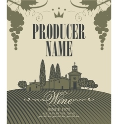 wine labels with a landscape of vineyards vector image