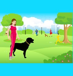 Woman with her dog at city park vector