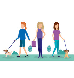 Young women with dog and shopping bag in the park vector