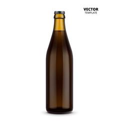beer bottle glass mockup isolated vector image