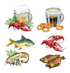beer in mug with snacks crabs fish bagels vector image vector image