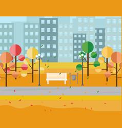 city park view autumn seasons background vector image vector image