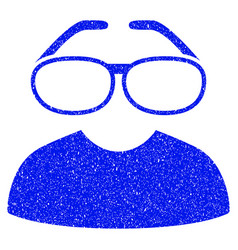 Clever spectacles grunge icon vector