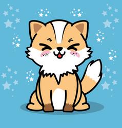 cute and lovely fox cartoon vector image