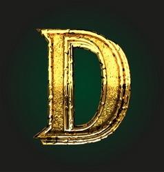 d golden letter vector image vector image