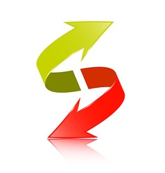 Double Arrow 3D Green and Red Symbol vector image vector image