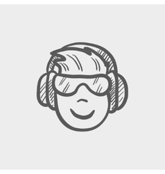 Head with headphone and glasses sketch icon vector